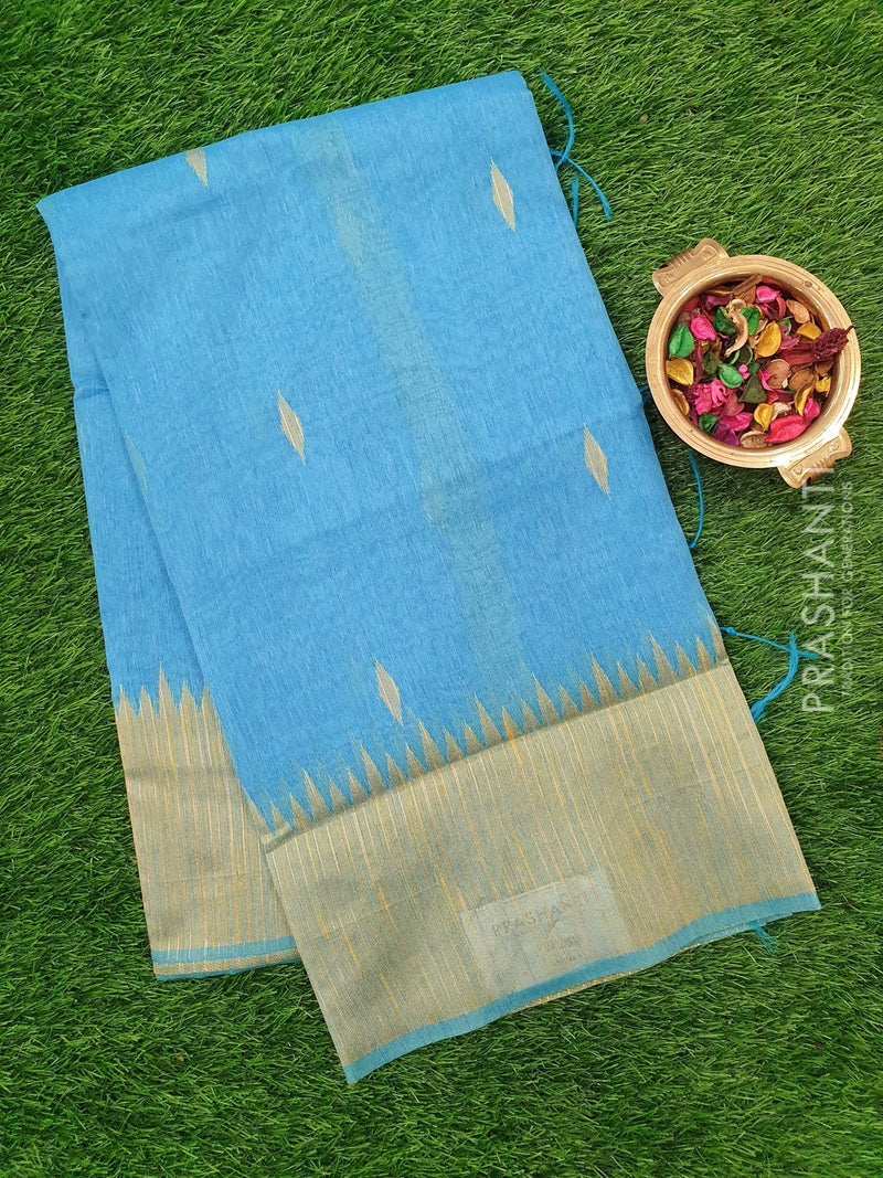 Semi Linen Saree blue with thread and zari woven buttas and woven border