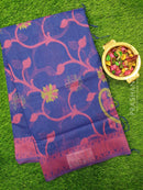 Semi Linen Saree blue with thread woven floral weaves and woven border