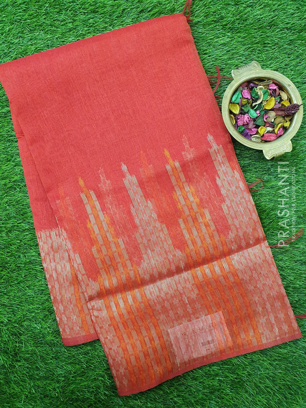 Semi Linen Saree red with thread and zari woven border