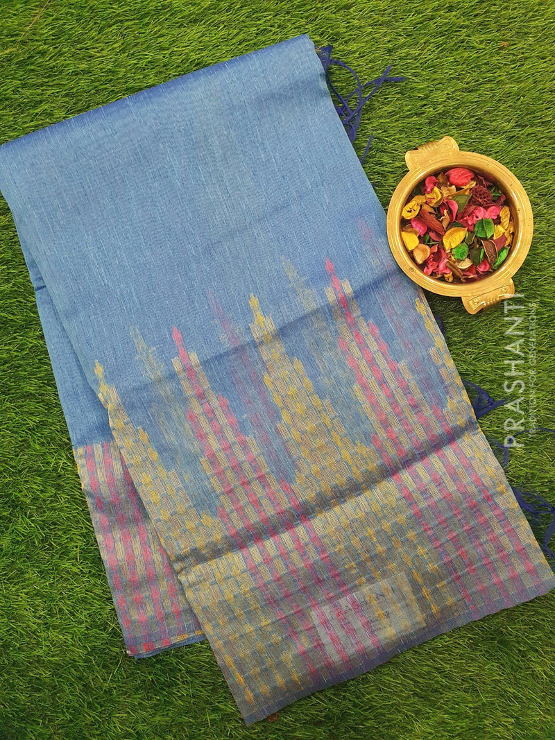 Semi Linen Saree blue with thread and zari woven border