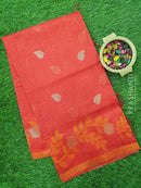 Semi Linen Saree red with zari and thread woven buttas and border