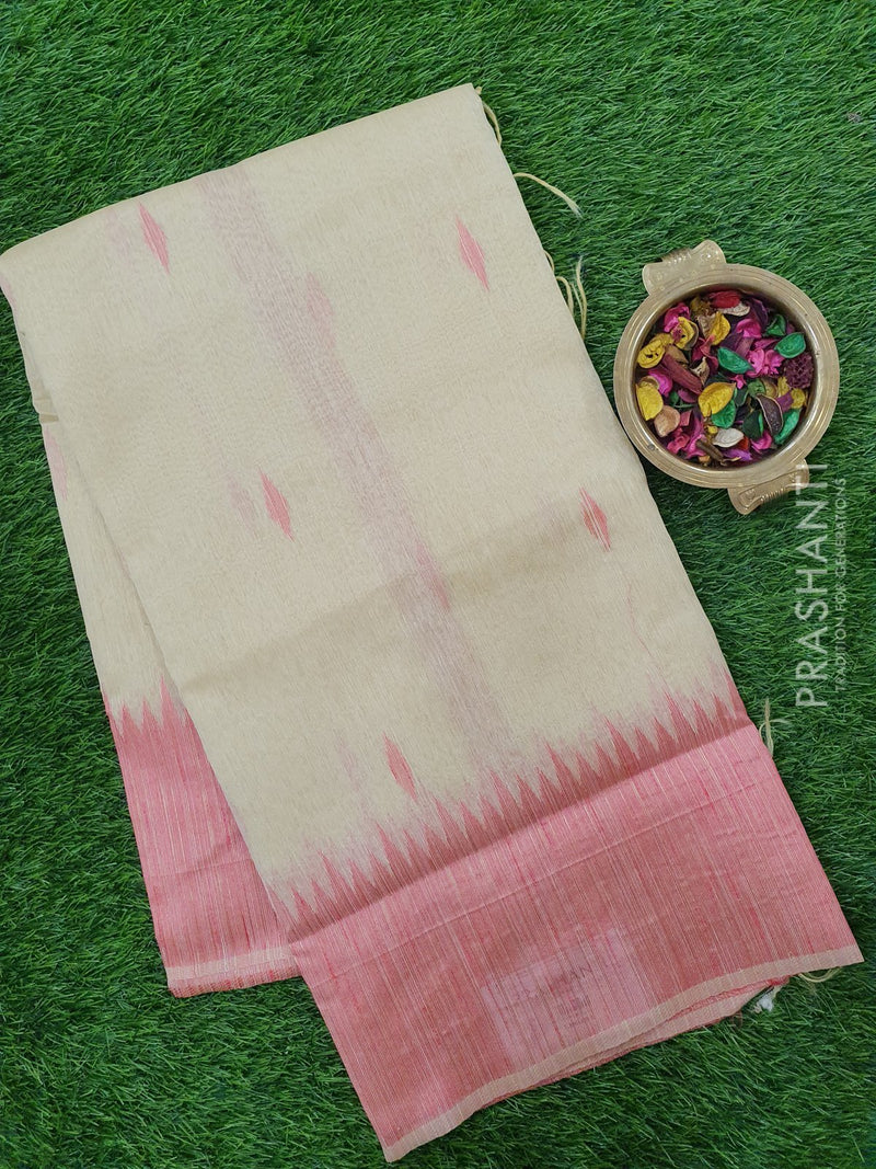 Semi Linen Saree sandal with zari and thread woven buttas and border