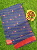 Semi Linen Saree blue with thread woven lines and floral buttas with woven border