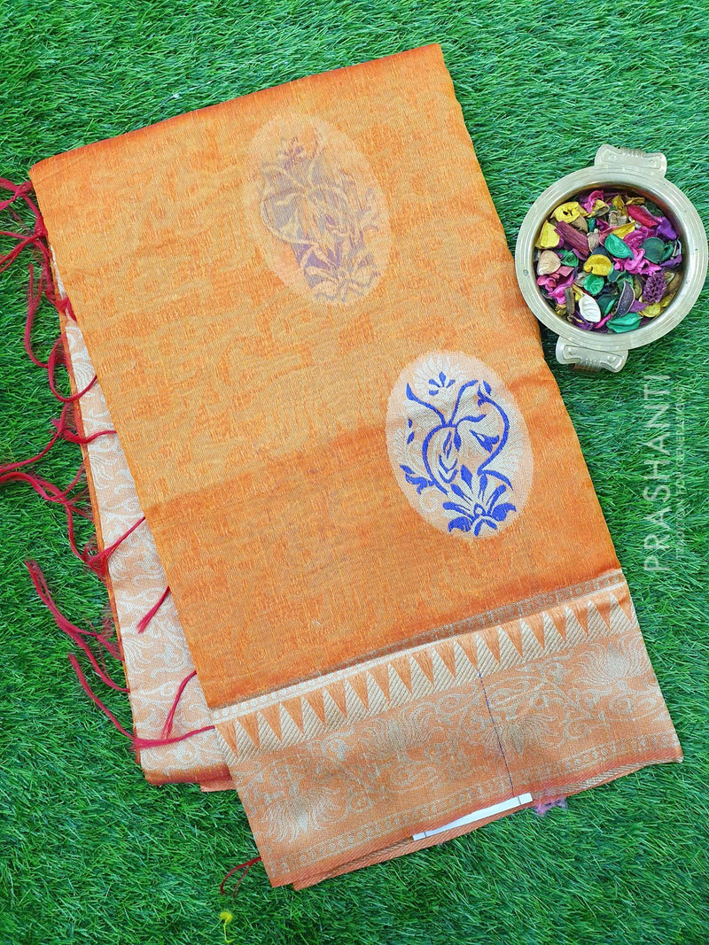 Semi Linen Saree rust orange with thread and zari woven floral weaves and border