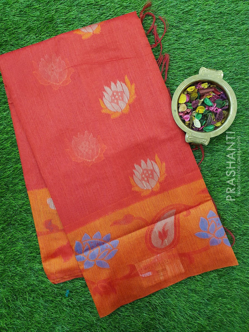 Semi Linen Saree red with thread woven floral buttas and woven border