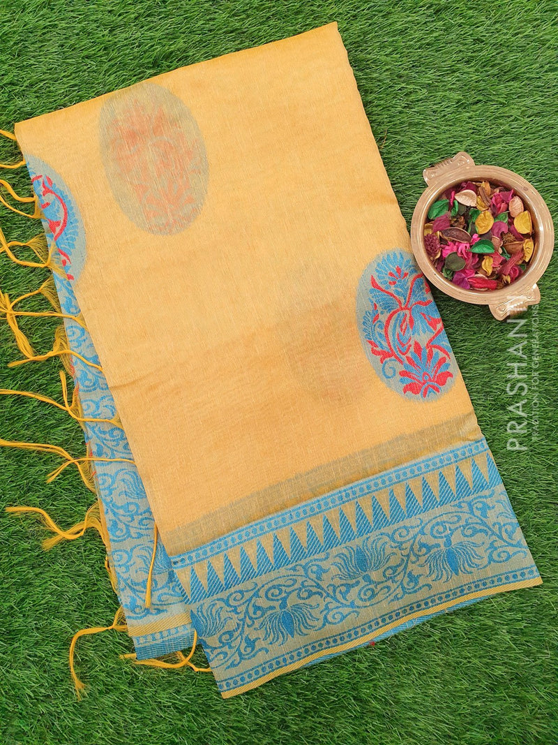 Semi Linen Saree yellow with thread and zari weaves and buttas with woven border
