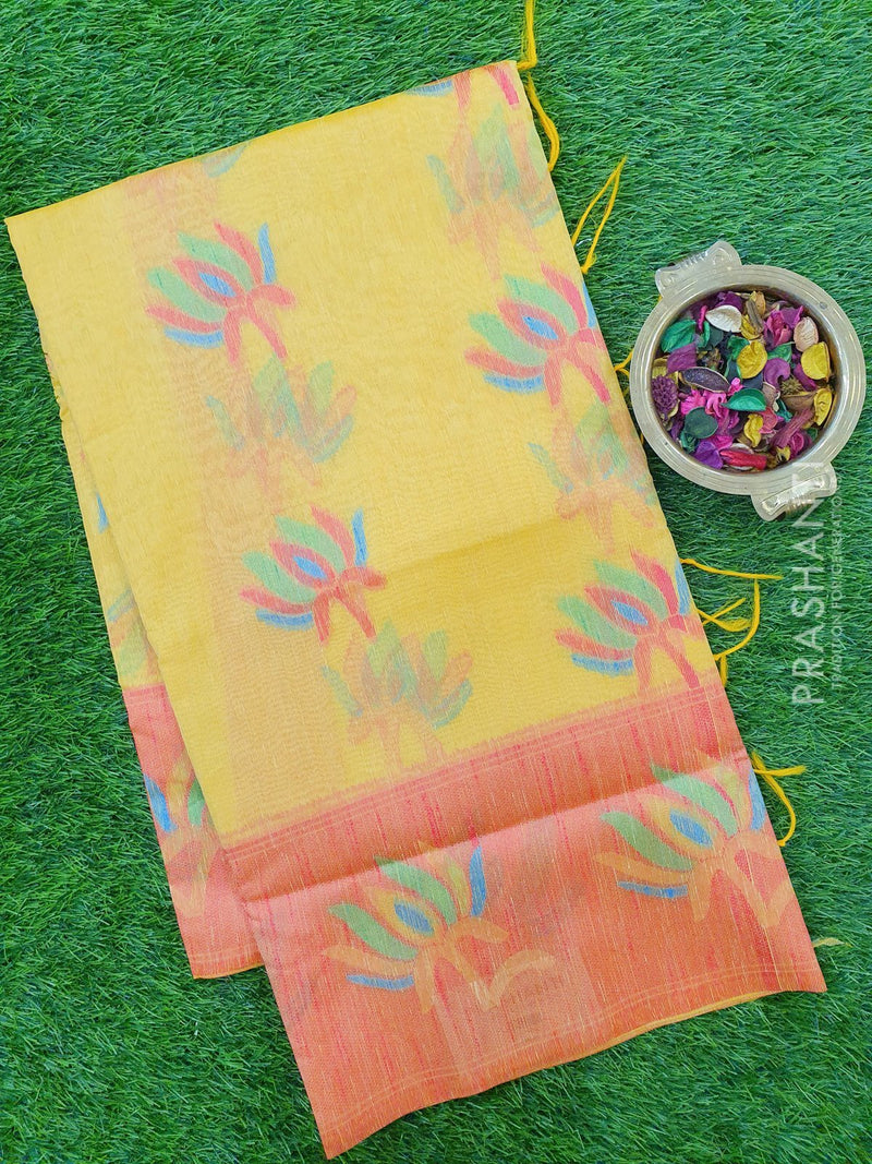 Semi Linen Saree yellow with thread woven floral buttas and woven border