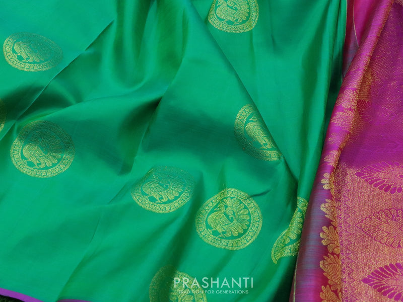 Pure Kanjivaram silk saree sea green and magenta with zari buttas in borderless style