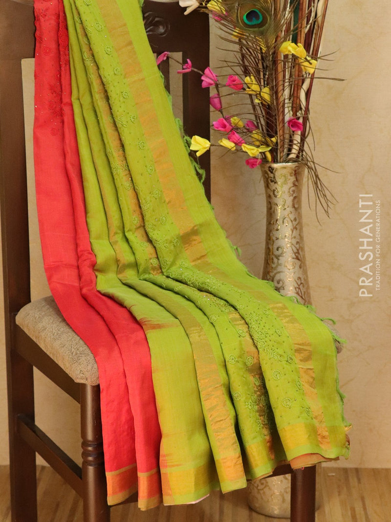 Silk Cotton saree orange and green with hand embroidery and golden zari border