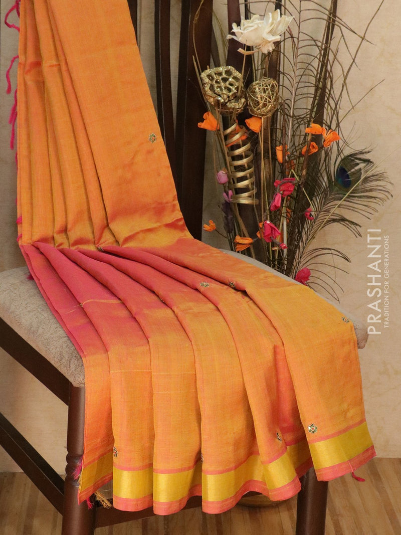 Silk Cotton saree dual shade of mustard and pink with hand embroidery and golden zari border