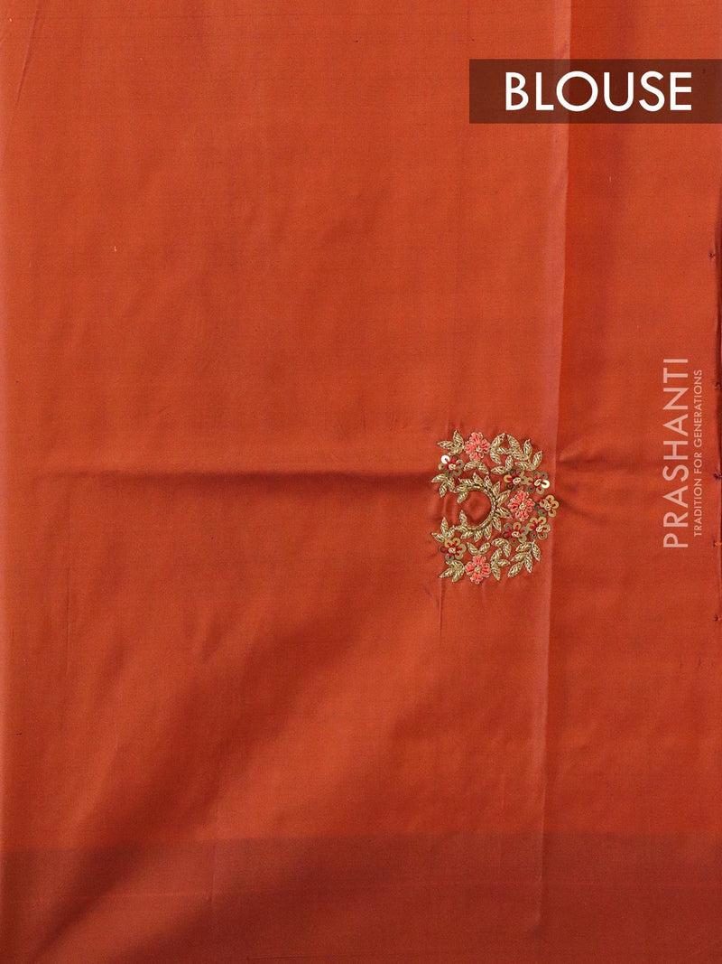 Silk saree dual shade of pink with hand embroidery and zariless border