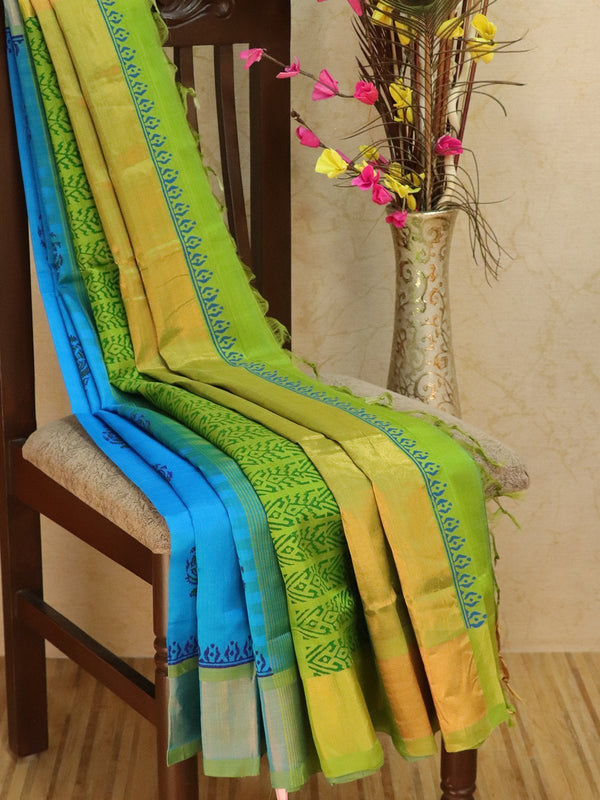 Block printed silk cotton partly saree cs blue and green with floral buttas and golden zari border
