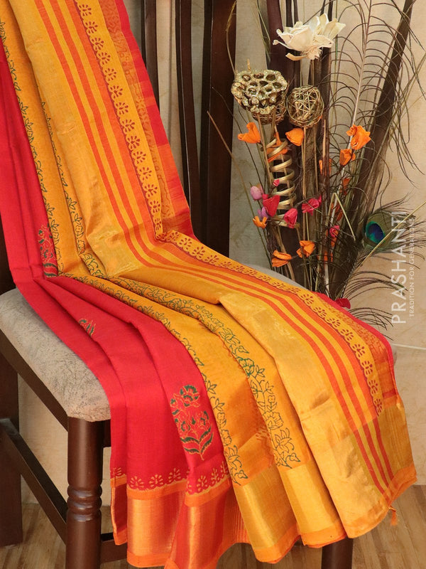 Block printed silk cotton partly saree red and mustard yellow with floral buttas and golden zari border