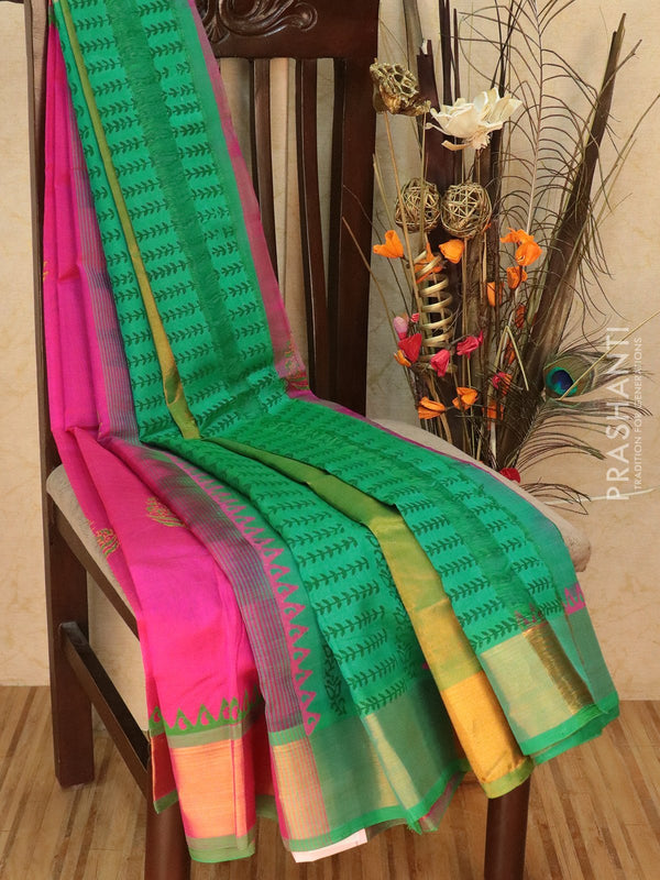 Block printed silk cotton partly saree pink and green with floral buttas and golden zari border