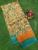 Semi silk saree beige and teal green with all over zari weaving and madhubani prints