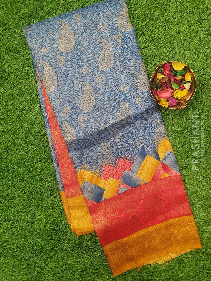 Semi silk saree blue and mustard with rich zari weaving and all over prints