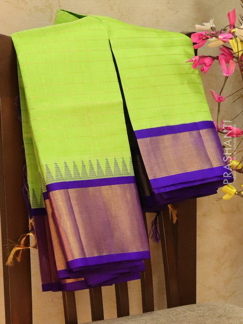 Kuppadam Silk Cotton Saree lime green and violet with checked zari pattern and simple zari border
