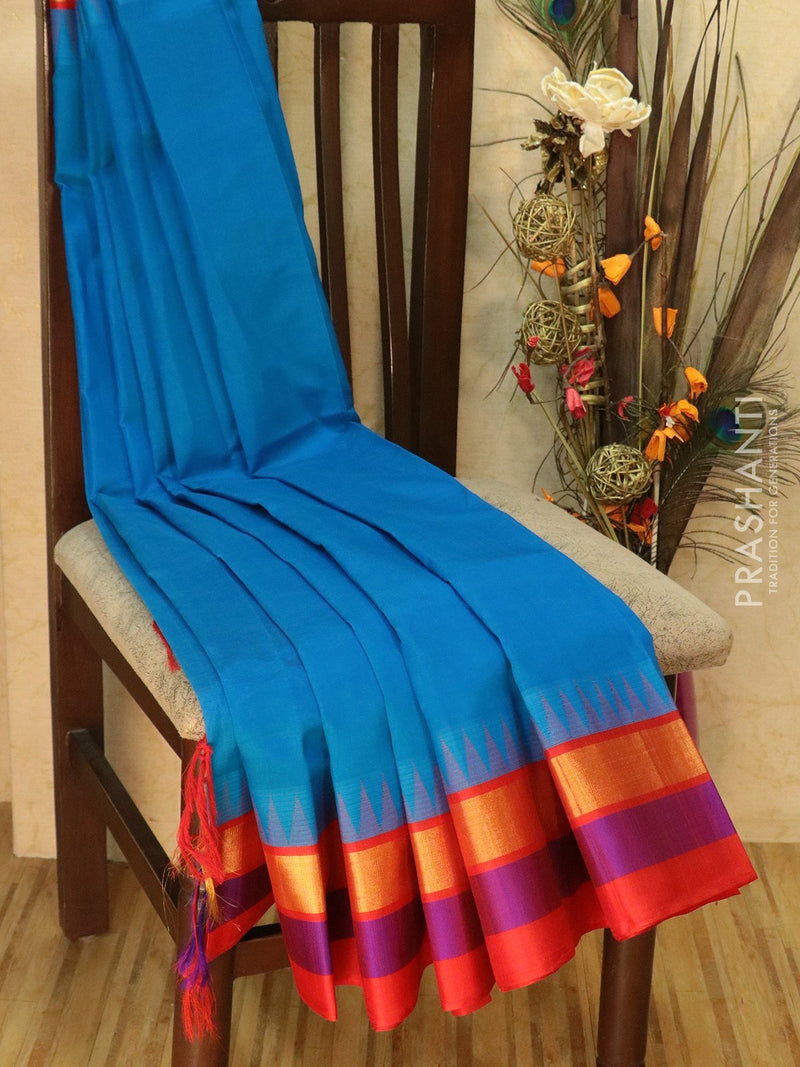 Kuppadam Silk Cotton Saree CS blue and red with simple zari border