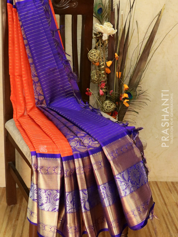 Kuppadam Silk Cotton Saree orange and violet with zari butta in checked pattern and kanchi border