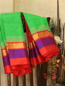 Kuppadam Silk Cotton Saree green and red with simple zari border