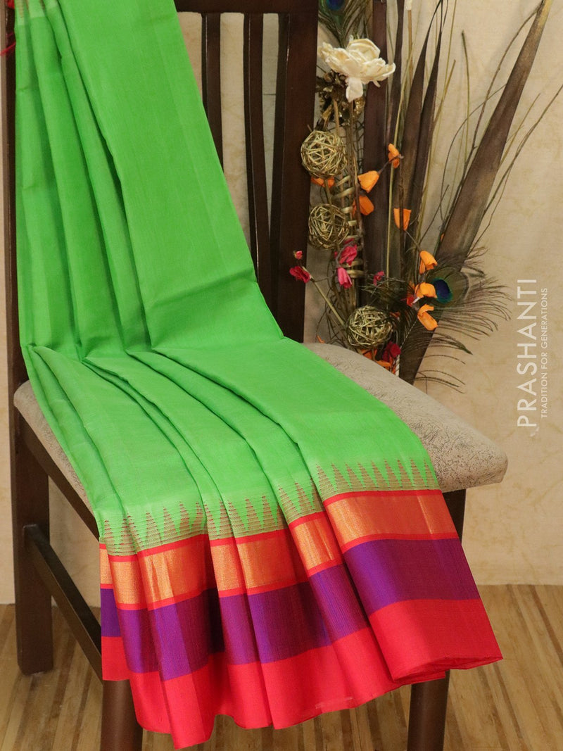 Kuppadam Silk Cotton Saree green and red with simple zari woven border