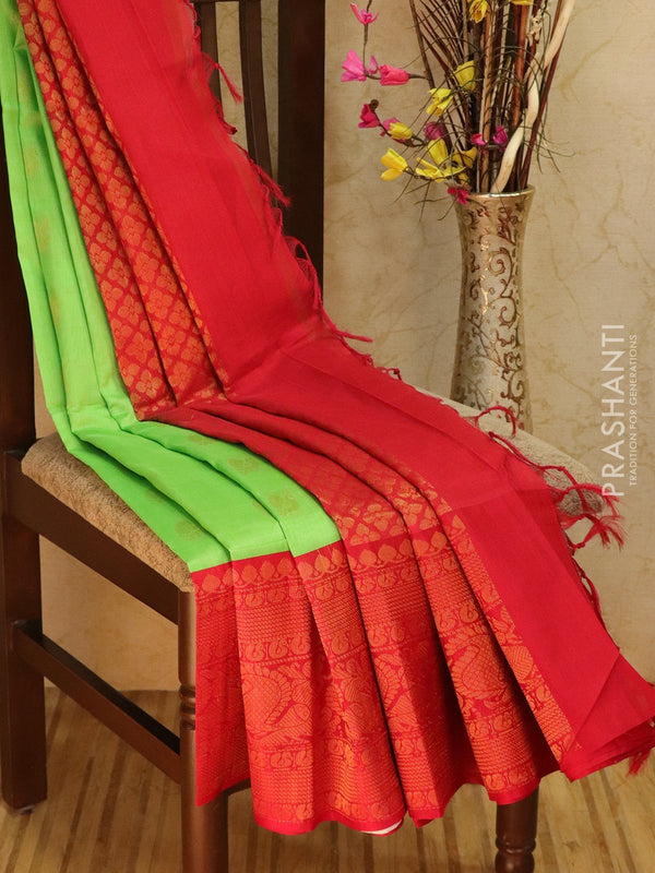 Kuppadam Silk Cotton Saree pista green and red with zari butta and rich zari woven border