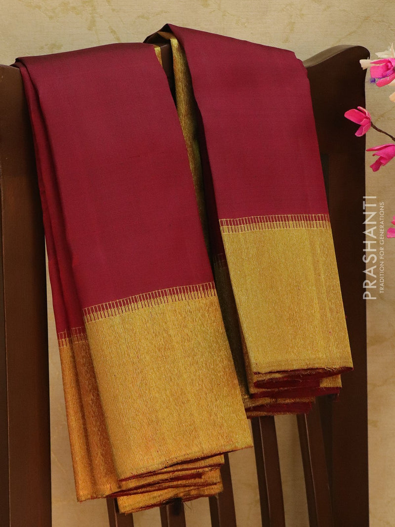 Pure Kanjivaram Silk saree maroon with rich zari border and pallu