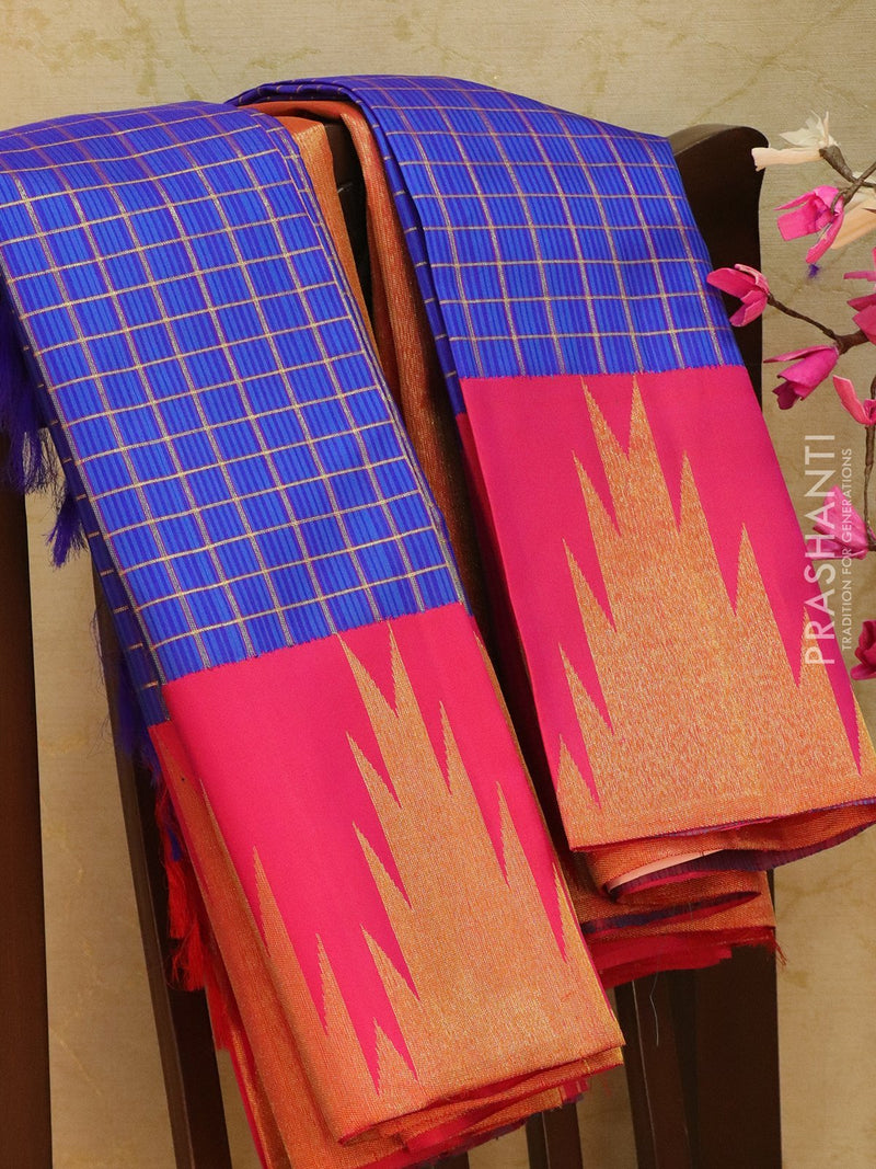 Pure Kanjivaram Silk saree blue and pink zari checks with temple zari border in korvai weaving