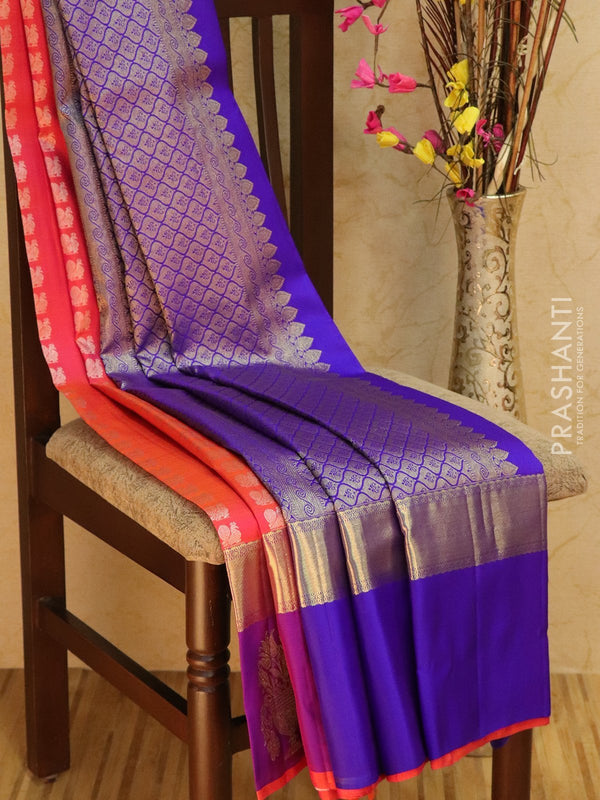 Pure Kanjivaram Silk saree lavender and bottle green with traditional zari border and body buttas
