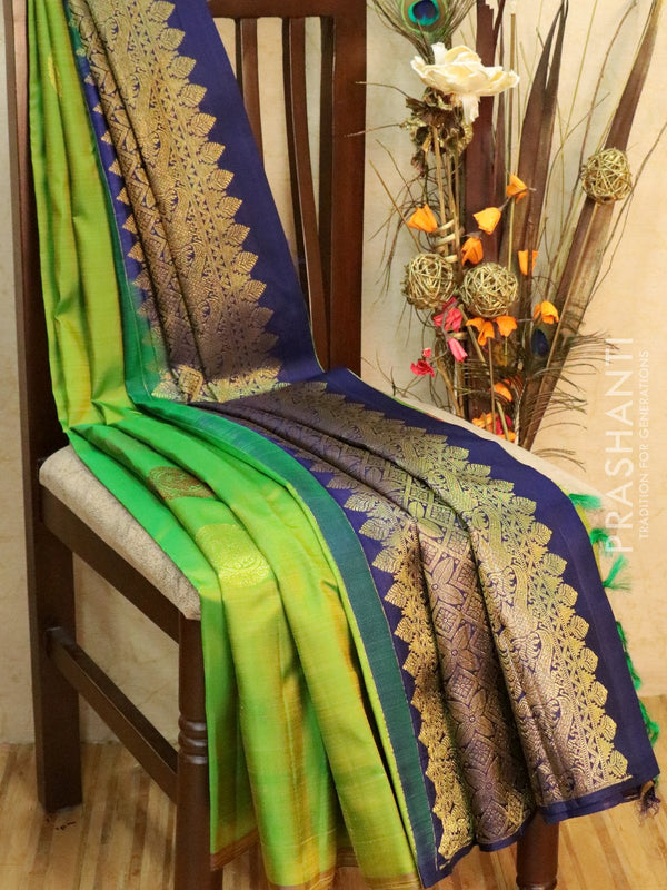 Pure Kanjivaram Silk saree lime green and navy blue with grouped buttas in borderless style