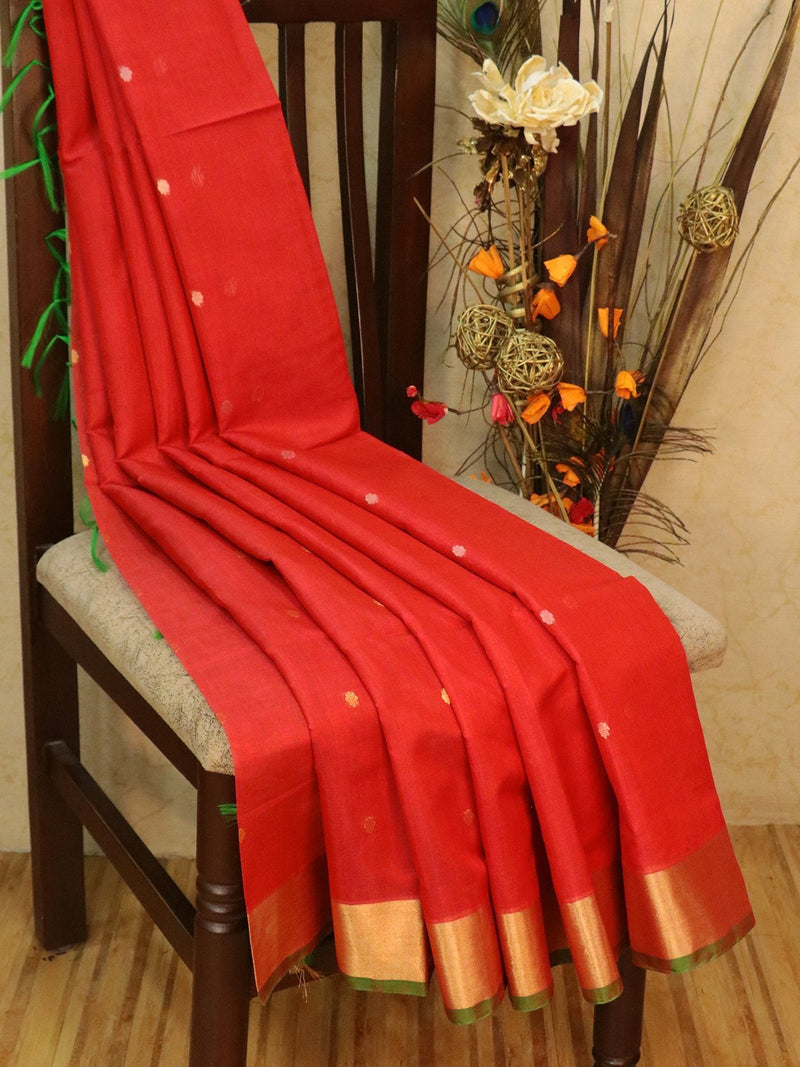 Kora Silk Cotton Saree red and green with zari butta and simple zari border