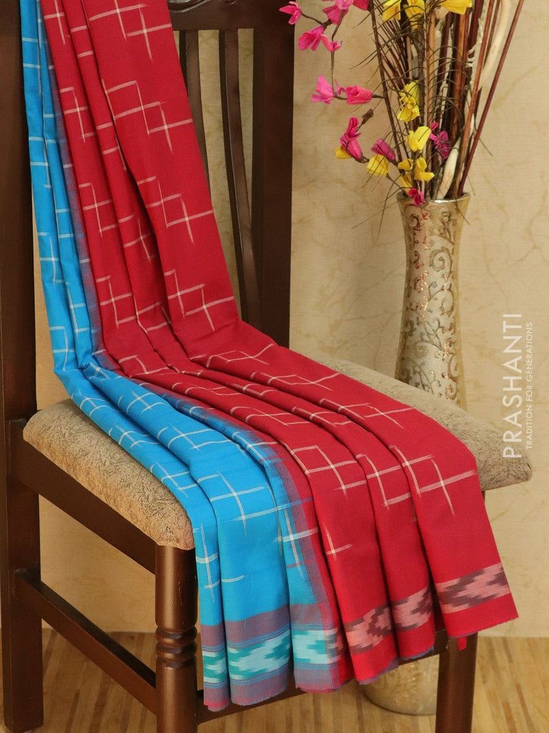 Ikat Cotton Saree blue and red with geometric pattern