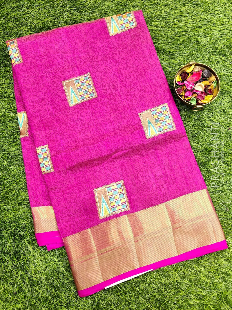 Semi Tussar Saree pink with embroidery and zari border