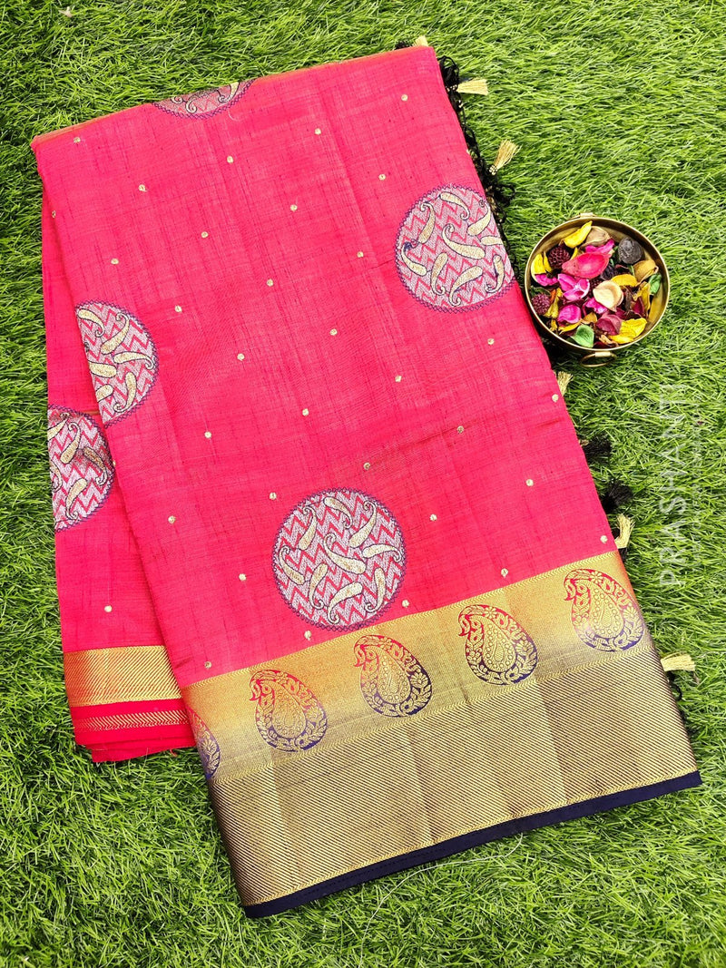 Semi Tussar Saree red and navy blue with embroidery and zari border