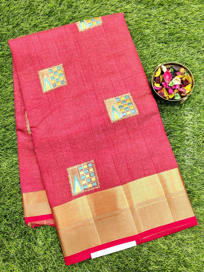 Semi Tussar Saree red with embroidery and zari border