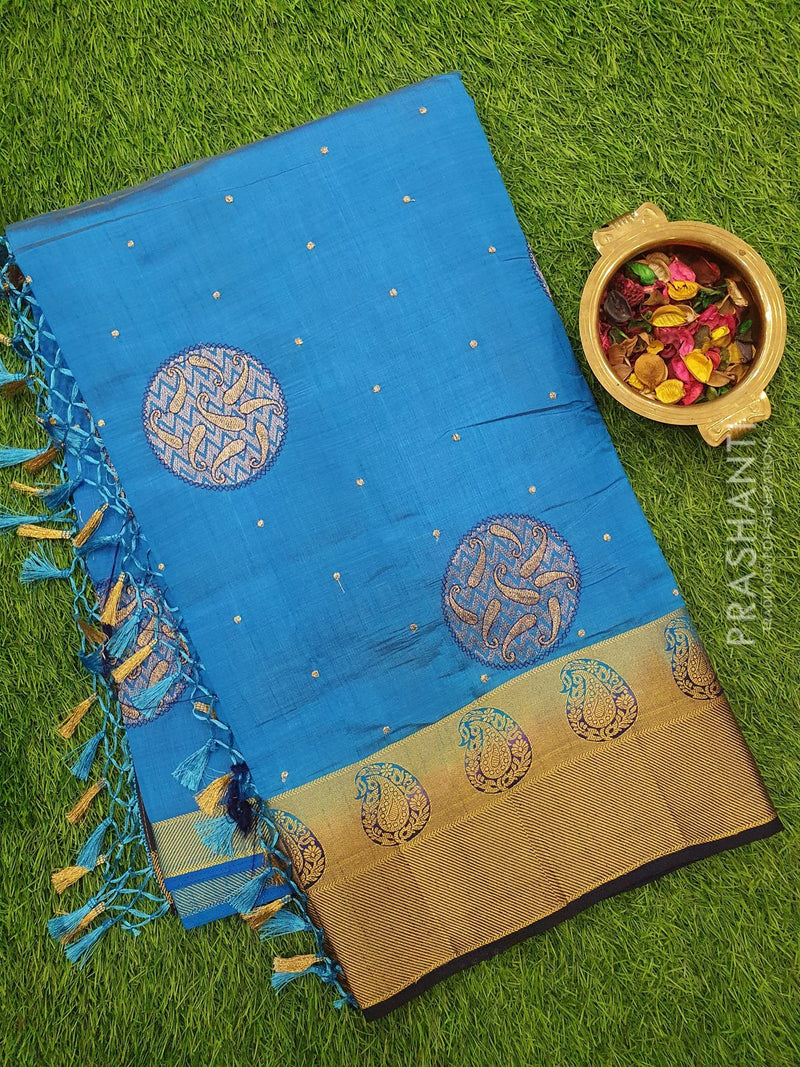 Semi Tussar Saree CS blue and blue with embroidery and zari border