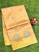 Semi Tussar Saree beige with embroidery and zari border