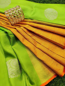 Pure Kanjivaram silk saree green and orange with zari butta and piping border