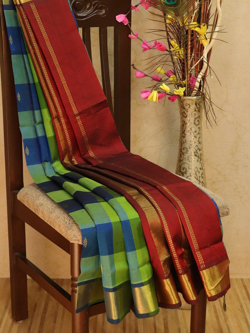 Silk Cotton saree multi colour paalum pazhamum zari checks with small zari buttas