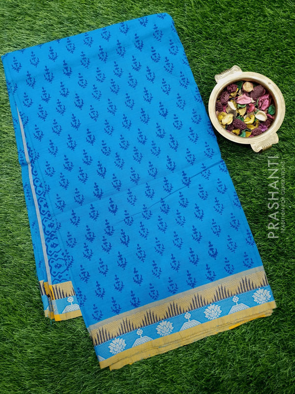 Chettinad cotton saree cs blue and mustard with hand block prints without blouse
