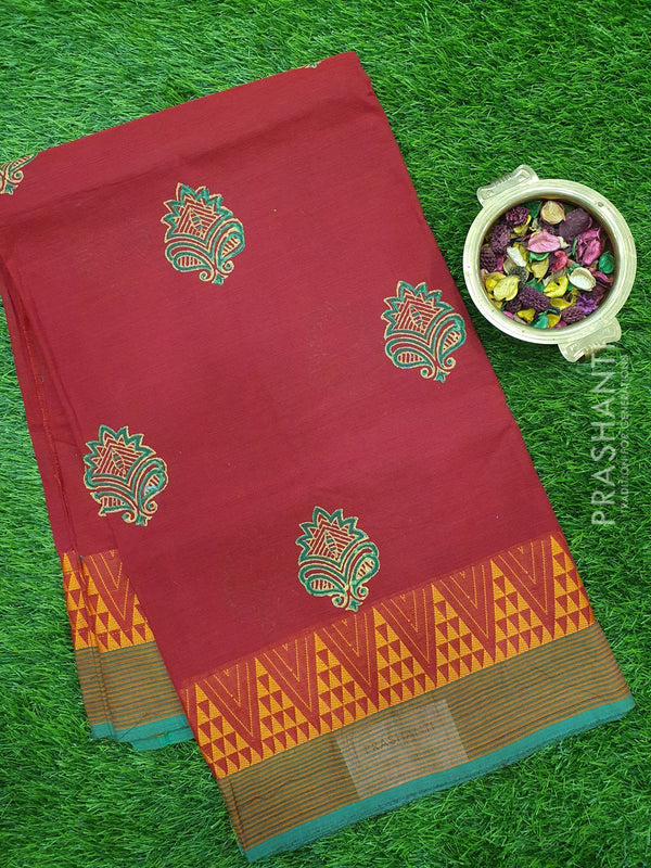 Chettinad cotton saree kum kum red and green with hand block prints without blouse