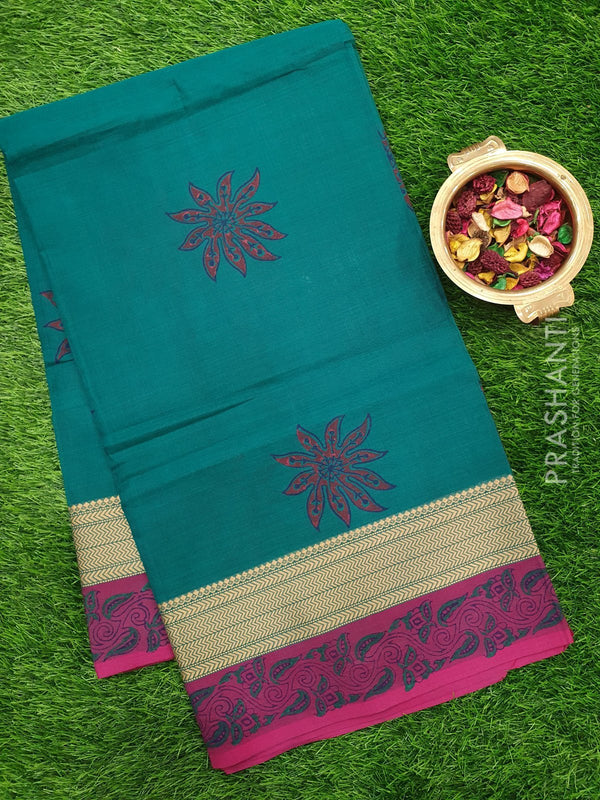 Chettinad cotton saree green and magenta with hand block prints without blouse