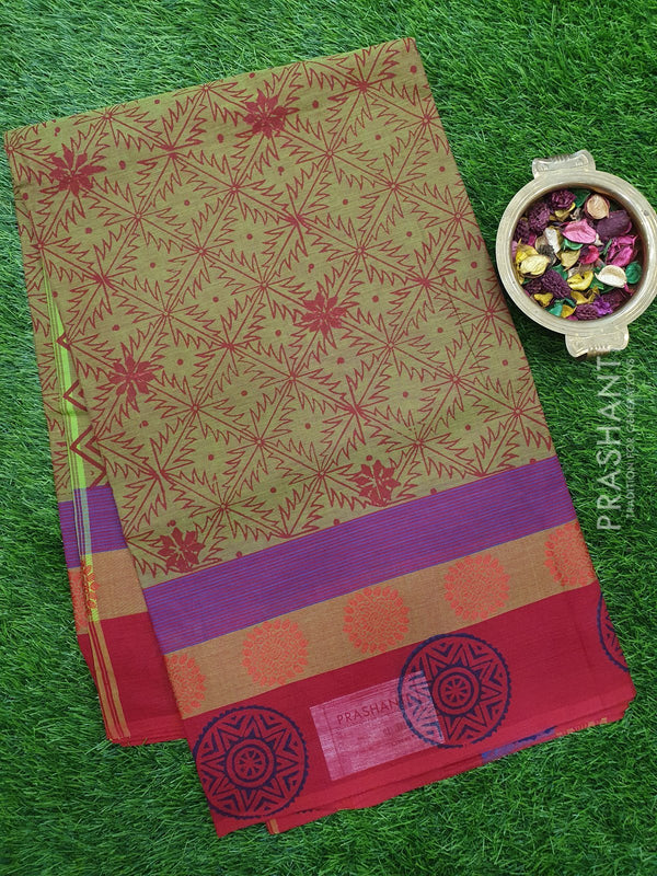Chettinad cotton saree mehendi green and red with hand block prints without blouse