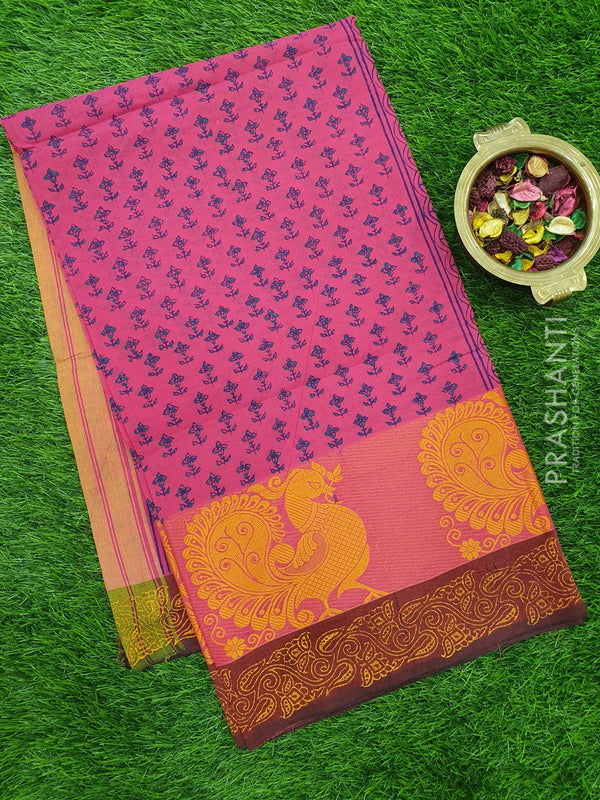 Chettinad cotton saree pink with hand block prints without blouse