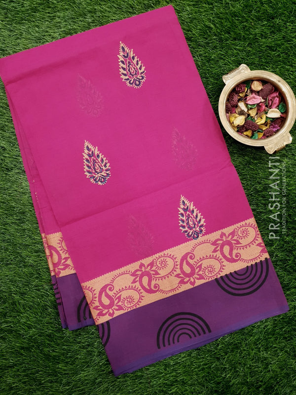 Chettinad cotton saree pink and purple with hand block prints without blouse