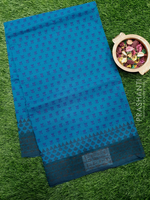 Chettinad cotton saree peacock blue with hand block prints without blouse