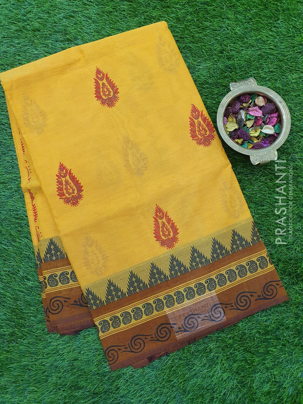 Chettinad cotton saree yellow and brown with hand block prints without blouse