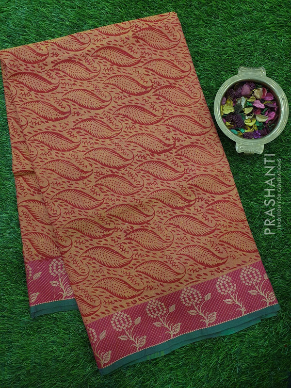 Chettinad cotton saree yellow orange and pink with hand block prints without blouse