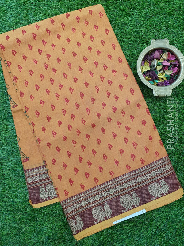 Chettinad cotton saree yellow orange with hand block prints without blouse