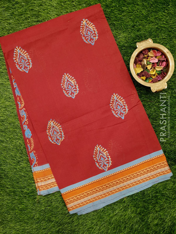Chettinad cotton saree kum kum red and blue with hand block prints without blouse